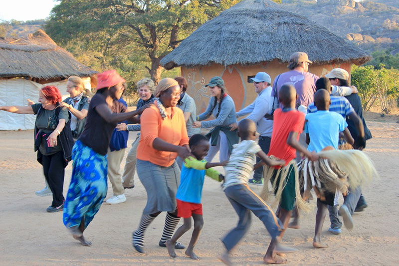 Visitors Join In a Culture Dance in the Silozwane area in Matobo