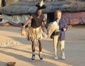 Spanish Citizen and Silozwe dancer in Matobo in Zimbabwe