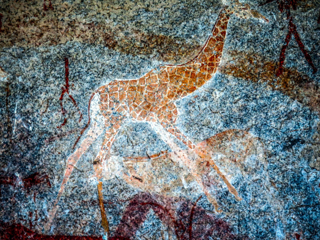 Giraffe, Inanke Cave, San Bushman Art, Pre-historic Painting, Matobo Hills, Matopos, Zimbabwe