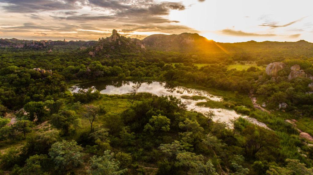 Mtshele River in the Matobo National Park in Zimbabwe