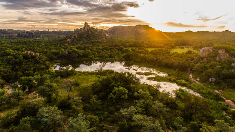 Mtshele River in the Matobo National Park in Zimbabwe