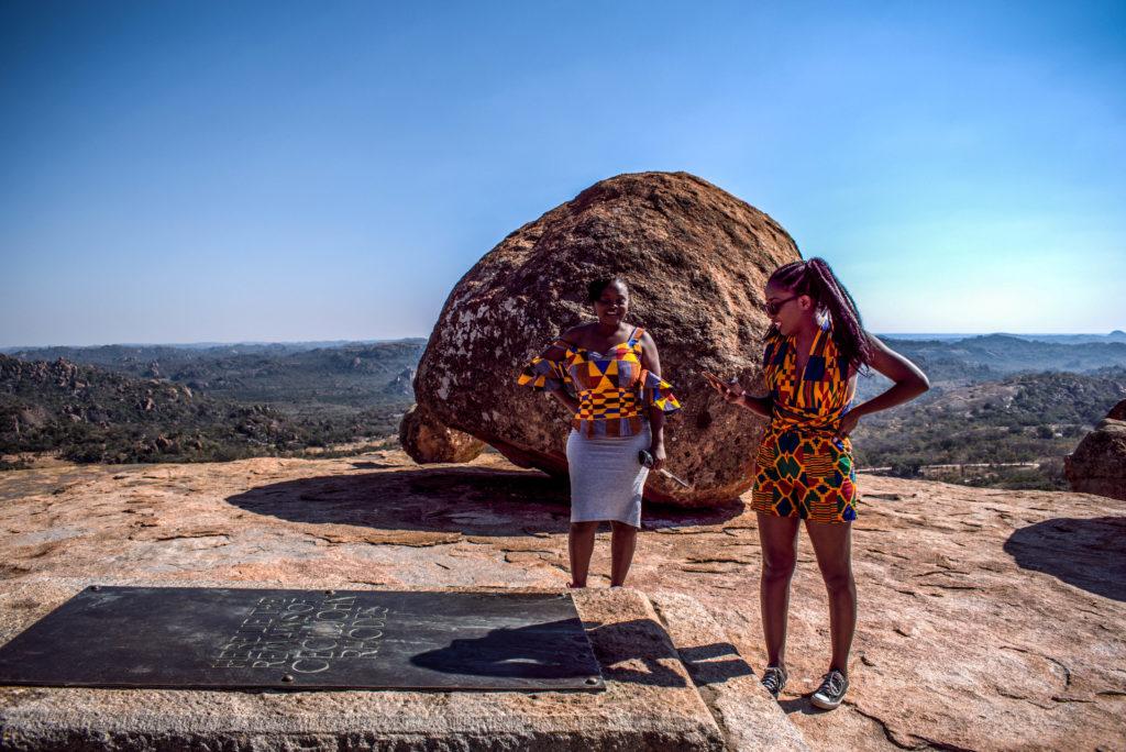 Ancillar Mangena at Rhodes Grave, Zimbabwe